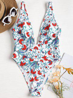 Floral Low Cut High Leg Swimsuit - White L
