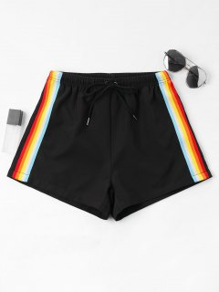 High Waist Stripes Shorts - Black L