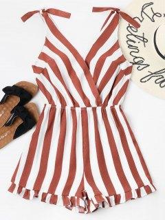 Striped Ruffle Hem Romper - Cherry Red S