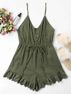 Low Cut Eyelet Cami Romper - Army Green M