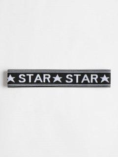 Star Graphic Elastic Workout Athletic Headband - Black