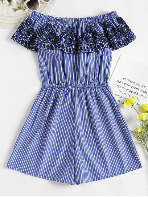 shop Broderie Overlay Striped Off Shoulder Romper - BLUE L Mobile