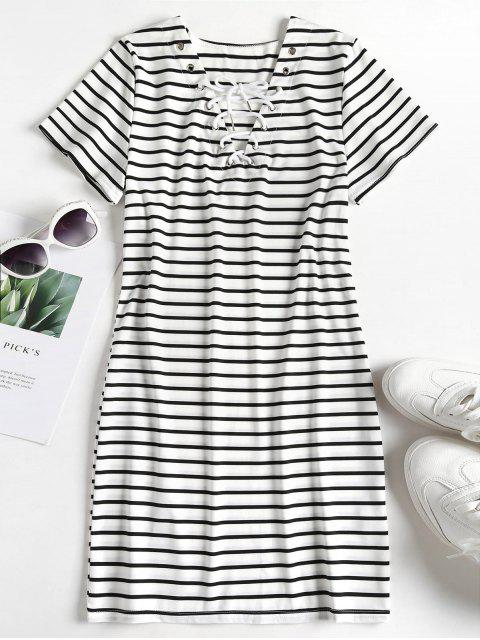 affordable Striped Lace Up Tee Dress - MULTI L Mobile