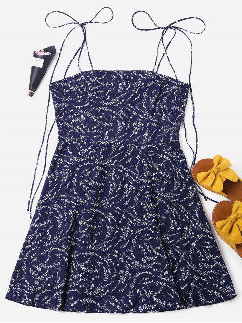 buy Tied Straps Mini Pattern Dress - DEEP BLUE XL Mobile