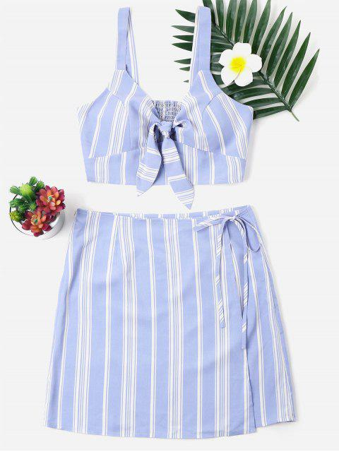 fancy Two Piece Stripe Knotted Dress - BABY BLUE XL Mobile