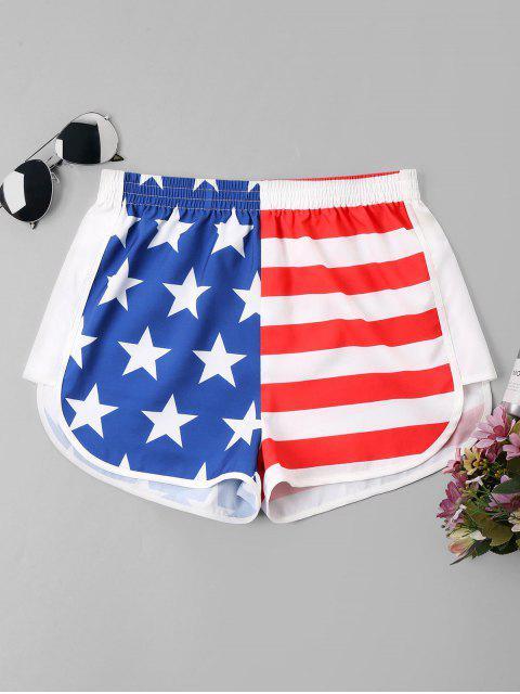 Pantalones cortos ocasionales de la bandera americana - Multicolor L Mobile