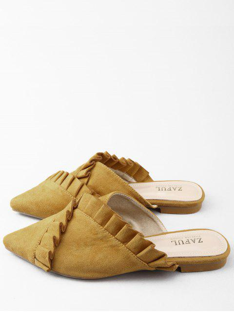 outfits Pointed Toe Flat Heel Ruffles Asymmetric Mules Shoes - BEE YELLOW 38 Mobile