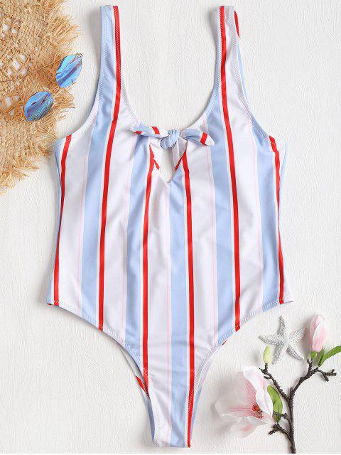 lady Bowknot Low Back One Piece Swimsuit - MULTI-J XL Mobile