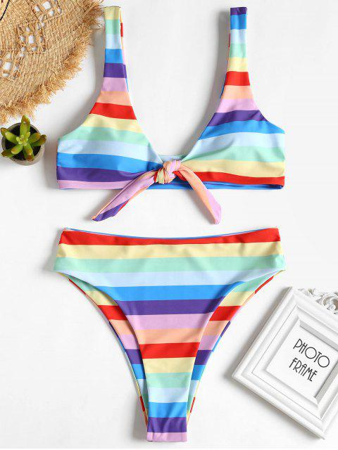 Knoten Regenbogen Farbe Hohe Schlitz Bikini - Multi L Mobile