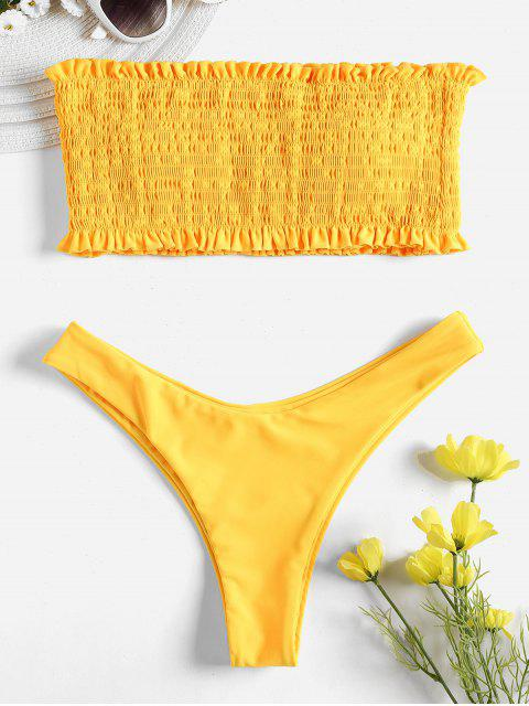 best Smocked Bandeau Bikini Set - RUBBER DUCKY YELLOW S Mobile