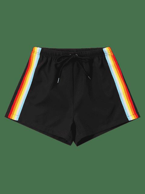 Shorts rayés taille haute - Noir L Mobile