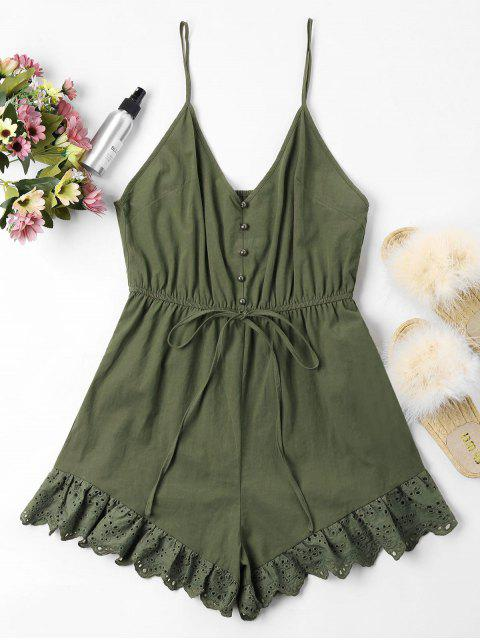 affordable Low Cut Eyelet Cami Romper - ARMY GREEN M Mobile