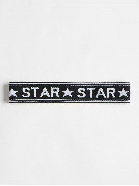 Star Graphic Elastic Workout Athletic Diadema - Negro Única Talla Mobile