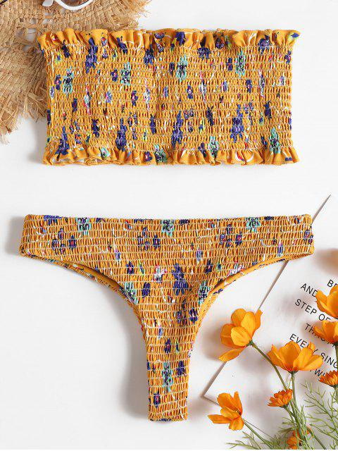 Conjunto de bikini de tanga deshilachado floral - Amarillo Brillante S Mobile