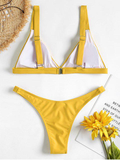 outfits Padded Plunge Bikini - MUSTARD L Mobile