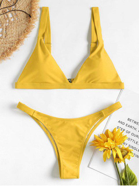 outfits Padded Plunge Bikini - MUSTARD L Mobile