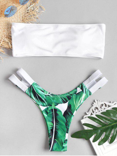 Bikini Jambes Hautes en Ensemble à Bretelles et Imprimé Tropical - Blanc L Mobile