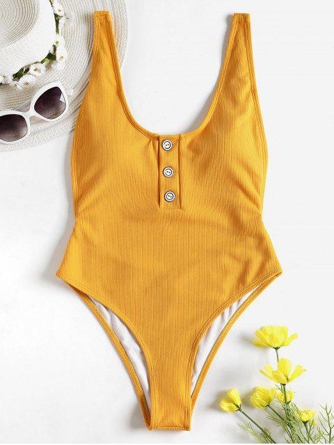 fashion One-piece Ribbed Buttons High Cut Swimsuit - GOLDEN BROWN S Mobile