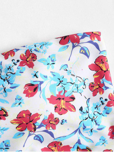 fancy Bandeau Tiny Floral High Waisted Bikini - MULTI S Mobile
