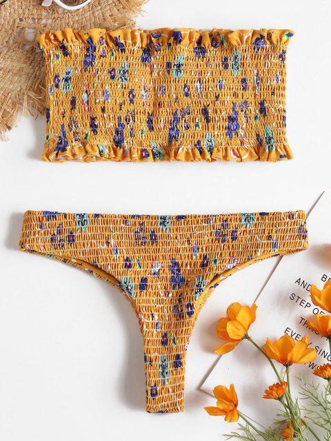 Conjunto de bikini de tanga deshilachado floral - Amarillo Brillante L Mobile