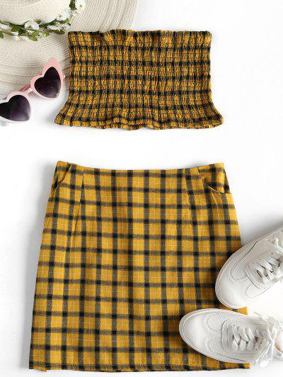 Tartan Smocked Bandeau Top Skirt Matching Set - Golden Brown M