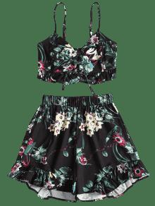 L Negro Florales Conjunto Piezas De Shorts Con Cordones Superiores Dos nHBzR8