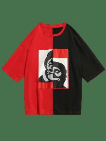 Figura L Color Rojo Patch Block Tee qXvwx75rqU