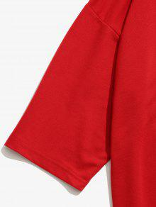 Tee L Rojo Figura Patch Color Block zPxqPFwt