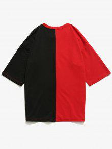 Rojo Block Color Tee L Figura Patch 6qaIEO