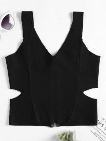 De Con Corte Mangas Punto Negro Sin Camiseta Cremallera De aqxYHPnwn