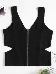 Corte Cremallera De Con Punto Negro De Mangas Camiseta Sin 7wqX00