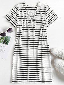 فستان بأربطة مخططة - متعدد M
