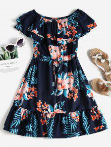 قبالة الكتف فستان زهري - ازرق غامق S