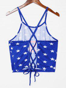 Ar Con Estrellas Estampado Azul Cordones Top De Con Y Top Estampado Cami De 7OFRq5