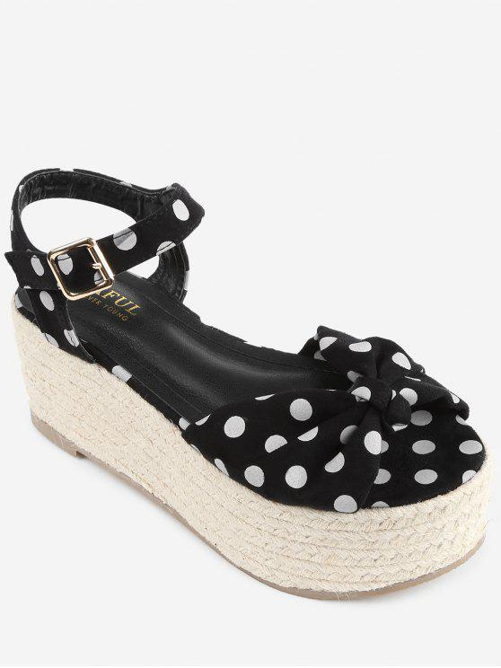 Sandalias de plataforma de alpargata con lunares Bowknot - Negro 38