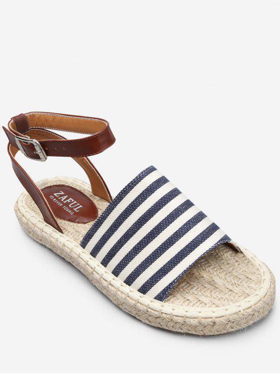 Sandálias listradas de férias casuais Espadrille - Azul-celeste 36