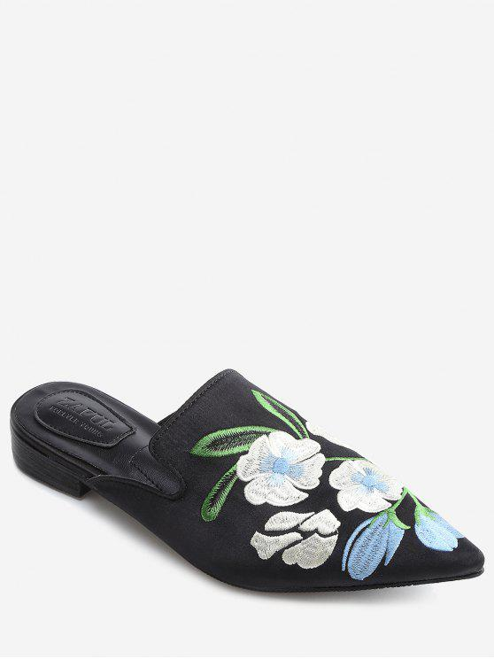 shop Color Block Floral Embroidery Pointed Toe Mules Shoes - BLACK 36