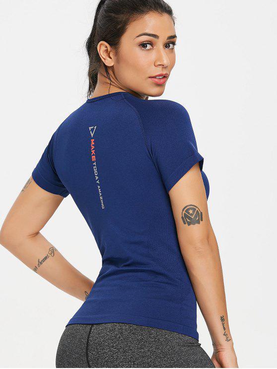 Umidade sem emenda que wicking a camisa do Gym T - Azul Escuro L