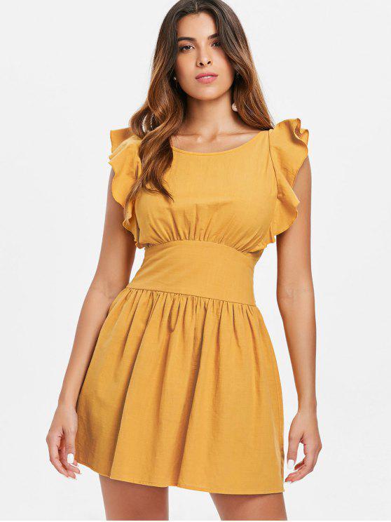 Knoten Rücken Rüschen Kleid - Biene Gelb L