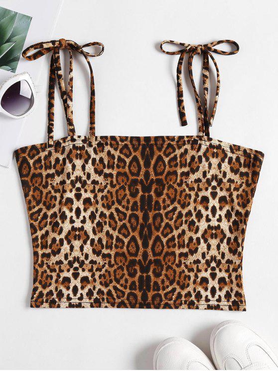 50c3c71954bb3 28% OFF  2019 Leopard Print Tie Strap Cami Crop Top In LEOPARD