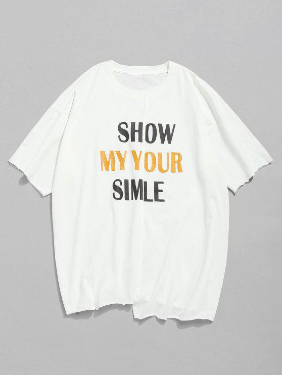 Letra Print Unfinished Edge T-shirt - Blanco 2XL