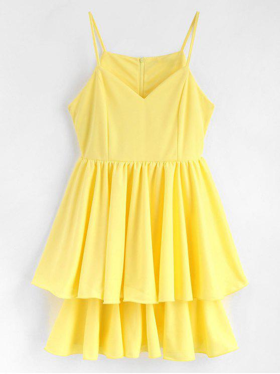online Lettuce Edge Layered Skater Cocktail Dress - YELLOW XL