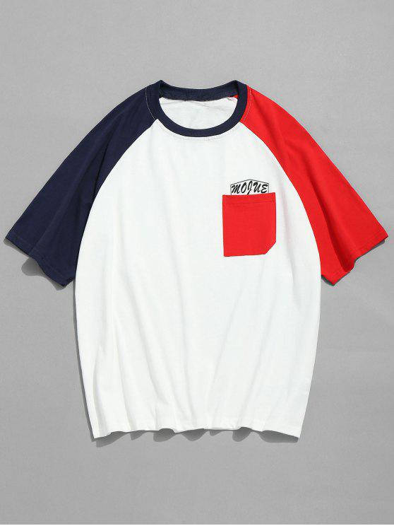 T-shirt en Bloc de Couleur à Manches Raglan - Rouge XL