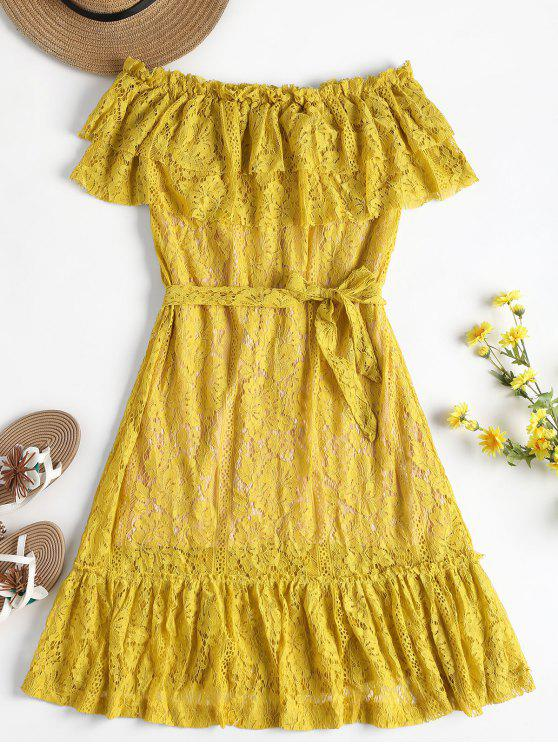 women Overlay Off Shoulder Lace Dress - YELLOW M