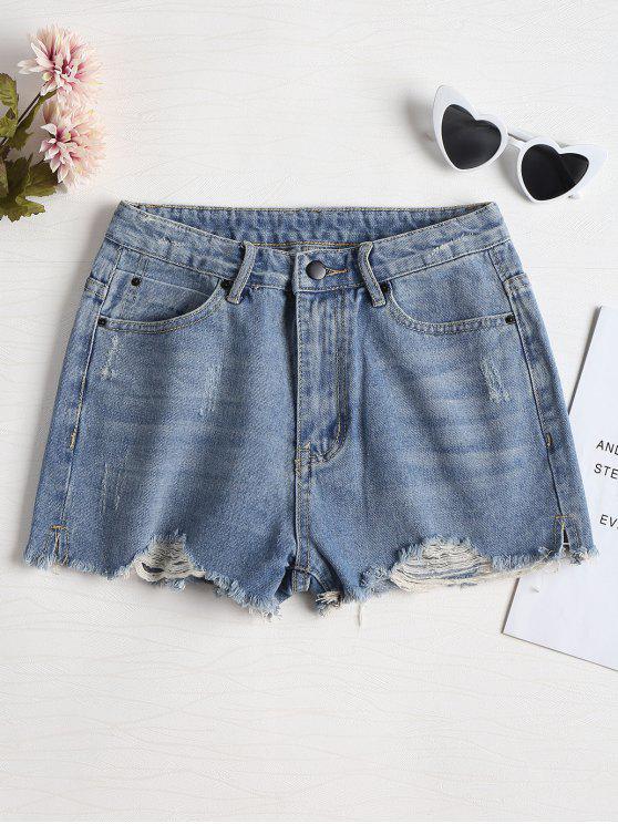 Pantaloncini In Denim Strappati Tagliati - Blu Denim 30