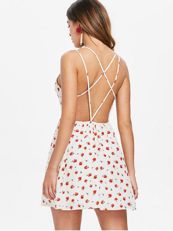 affordable Criss Cross Floral Print Dress - MILK WHITE L