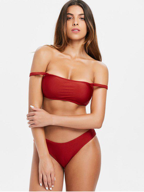 women's Shiny Off Shoulder Bikini Set - CHESTNUT RED L