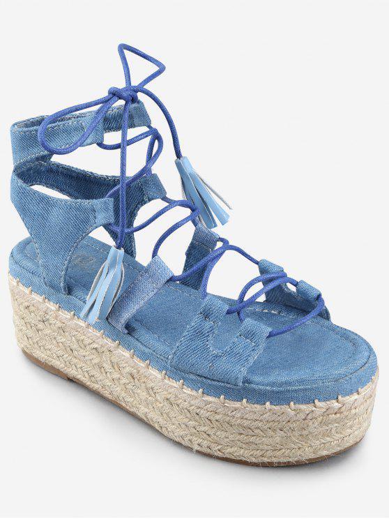Sandales à Talons Plateforme avec Croisés Pompons et Bride à la Cheville - Bleu de Denim 37