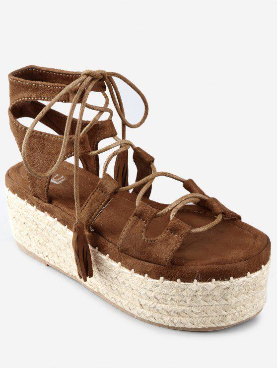 Sandalias con correa de tobillo y plataforma con borlas cruzadas - Marrón 38