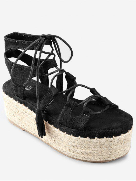 ladies Crisscross Tassels Platform Espadrille Ankle Strap Sandals - BLACK 37